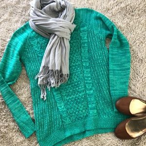 Sweaters - Green Cable Knit Sweater